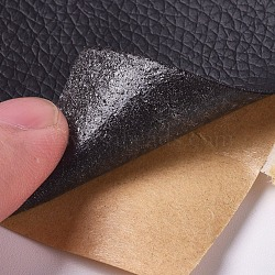 PU Leather Fabric, with Adhesive Back, for Sofas, Car Seats, Handbags, Jackets, First Aid Patch, Black, 76x1mm; about 152cm/Roll(AJEW-WH0105-78A)