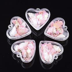 подвески из прозрачного пластикового контейнера, с раковиной и блестками, сердце, розовый, 28.5x30x18 mm, отверстия: 1.6 mm(KY-S159-01D)