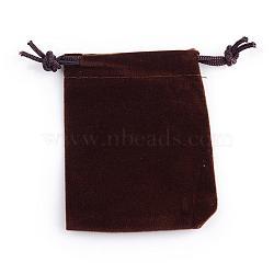 Pochettes rectangle en velours, sacs-cadeaux, coconutbrown, 12x10 cm(TP-R002-10x12-07)