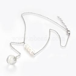 316 colliers de lasso en acier inoxydable, avec pissenlit séché à l'intérieur des perles de verre, classer les perles et les 304 pinces de homard en acier inoxydable, avec boîte de papier, couleur inox, 16.3 (41.5 cm), 2 mm(NJEW-JN02185)