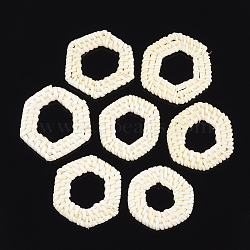Handmade Reed Cane/Rattan Woven Linking Rings, For Making Straw Earrings and Necklaces, Bleach, Hexagon, Beige, 40~46x38~44x4~6mm, Inner Measure: 20~28x18~26mm(X-WOVE-T006-127A)