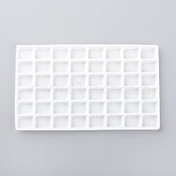 Plastic Jewelry Display Trays, 48 Compartments, White, 127x75x4mm(X-ODIS-R004-01)