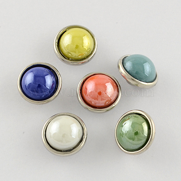 Brass Jewelry Snap Buttons, with Glass Cabochon, Flat Round, Platinum Metal Color, Mixed Color, 12x9mm; Knob: 4mm(GLAA-S058-M)