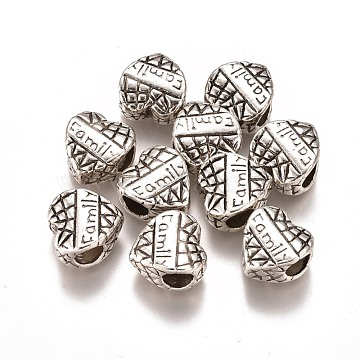 Alloy Beads, Heart with Word Family, Antique Silver, 11.5x11x7mm, Hole: 5mm(PALLOY-K242-03AS)