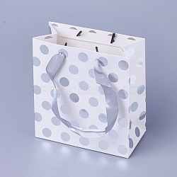 Sacs en papier, avec poignées feuille d'argent, sacs-cadeaux, sacs à provisions, rectangle, motif de points de polka, argenterie, 15x14x7 cm(CARB-WH0009-03B)