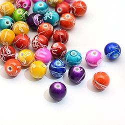 Vaporisez perles peintes rondes acryliques drawbench, couleur mixte, 8mm, trou: 2 mm; environ 1800 pcs / 500 g(ACRP-S657-8mm-M)