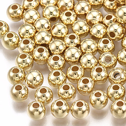 CCB Plastic Beads, Round, Light Gold, 5x4.5mm, Hole: 1.5mm