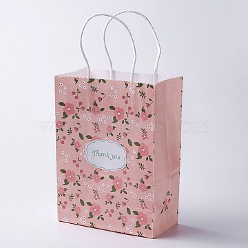kraft Paper Bags, with Handles, Gift Bags, Shopping Bags, Rectangle, Flower Pattern, Pink, 21x15x8cm(CARB-E002-S-S01)