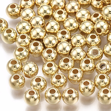 CCB Plastic Beads, Round, Light Gold, 5x4.5mm, Hole: 1.5mm(X-CCB-T006-004KC-5mm)
