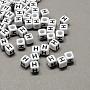 6mm Black Cube Acrylic Beads(X-SACR-Q103-6mm-01H)
