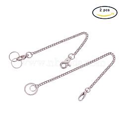 Брелок для ключей из цинкового сплава, с железными цепочками, платина, 20x53x20 мм(KEYC-PH0001-06)