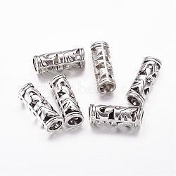 Perles de tube creux de style tibétain, sans plomb et sans cadmium, argent antique, longueur d'environ 23 mm ,  largeur de 8 mm, Trou: 5mm(X-LF10482Y)