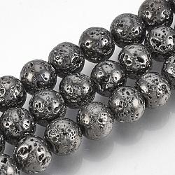 """Chapelets de perle en lave naturelle électrolytique, rond, cahoteuse, plaqué gris anthracite, 10~11mm, trou: 1mm; environ 38 pcs/chapelet, 15.7""""(X-G-T061-55D-10mm)"""