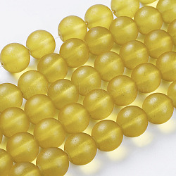 "Chapelets de perles en verre mate, rond, jaune, 16mm, trou: 2 mm; environ 50 pcs / brins, 31""(X-G07HW057)"