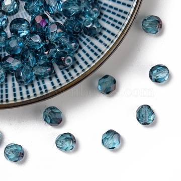 Czech Fire Polished Glass Beads, Faceted, Drum, LightSea Green, 6x6mm, Hole: 1mm; about 37pcs/10g(X-GLAA-F100-D22)