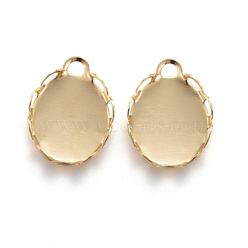 304 Stainless Steel Cabochon Settings, Lace Edge Bezel Cups, Oval, Golden, Tray: 10x8mm, 11.5x8.5x2mm(X-STAS-P249-13B-G)