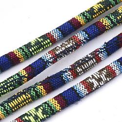 Cordes en tissu de style ethnique, avec cordon en coton à l'intérieur, colorées, 6.5~7x5 mm; environ 100 m / bundle(OCOR-S034-31)
