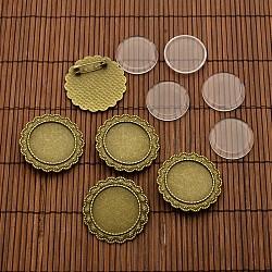 25 mm cabochons de verre transparent et les supports broches pour cabochon cru de lunette de fleurs en alliage, sans nickel, bronze antique, support du cabochon: 35.5 mm, Plateau: 25 mm, pin: 0.8 mm(DIY-X0189-AB-NF)
