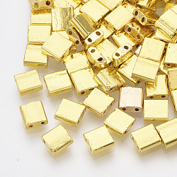 Electroplate Glass Seed Beads, 2-Hole, Rectangle, Golden Plated, 5x4.5~5.5x2~2.5mm, Hole: 0.5~0.8mm(X-SEED-S023-20C-06)