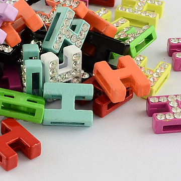Mixed Color Alloy+Rhinestone Slide Charms