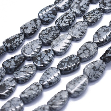 11mm Leaf Snowflake Obsidian Beads