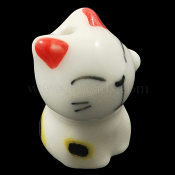 Handmade Kitten Porcelain Beads, Famille Rose Porcelain, Cat, White, about 18.5mm long, 13.5mm wide, 12mm thick, hole: 2.5mm(X-CF339Y)