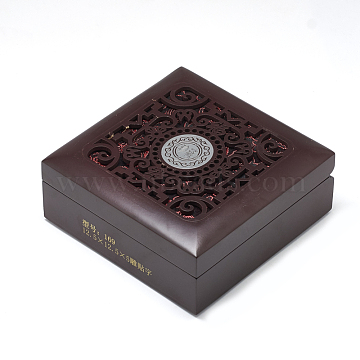 Wooden Bracelet Boxes, with Cloth Inside, Square, CoconutBrown, 12.5x12.5x5cm(OBOX-Q014-03B)