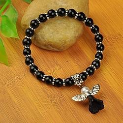 Bracelets d'ange belle avec robe de mariée pour les enfants, bracelets carnaval extensibles, avec verre perles de nacre et de perles de style tibétain, noir, 45mm(BJEW-JB00727-15)