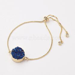 """Bracelets de curseur en agate druzy galvanisée naturelle et teinte, bracelets bolo, plat rond, avec accessoires en laiton, or, 10-1/4"""" (260mm) x 1MM(BJEW-JB02763)"""