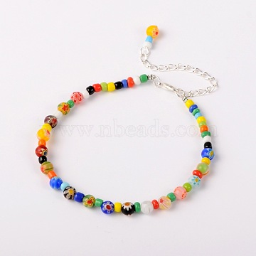Handmade Millefiori Glass Beads Anklets, with Zinc Alloy Lobster Claw Clasps and Iron End Chains, Colorful, 235mm(X-AJEW-AN00028)