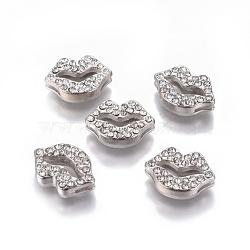 Alliage strass ton de platine breloques lèvre à glisser, environ 17 mm de large, Longueur 12mm, épaisseur de 4.5mm, trou: 1.5 mm de large, Longueur 8mm(X-RSB475-4)