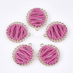 Pendentif tissé avec cordon imitation cuir, avec les accessoires en alliage, plat rond, or, hotpink, 32x28.5x6~7mm, Trou: 1.8mm(X-FIND-S306-09I)