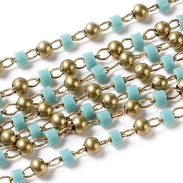 Turquoise Brass+Glass Handmade Chains Chain