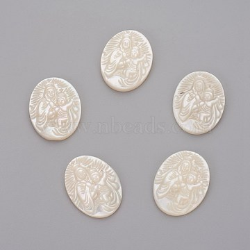 Natural White Shell Mother of Pearl Shell Cabochons, Oval with Human, 19.5x14.5x2.5mm(SHEL-P071-08)