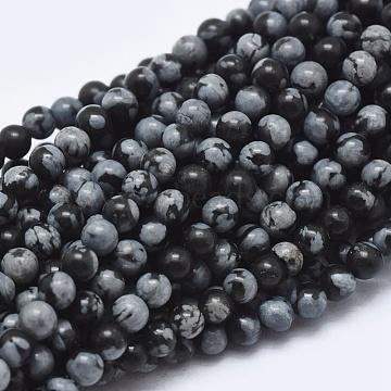 2mm Round Snowflake Obsidian Beads