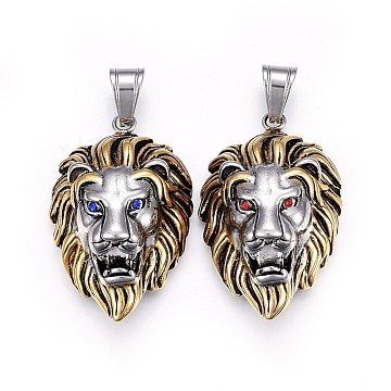 Antique Silver & Antique Golden Lion Stainless Steel+Rhinestone Pendants