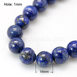 Natural Lapis Lazuli Beads Strands, Dyed, Round, Blue, 16mm, Hole: 1mm; about 12pcs/strand, 7.6inches