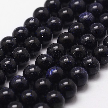 Blue Goldstone Beads Strands, Round, 8mm, Hole: 1mm, about 49pcs/strand, 15 inches(X-G-D840-81-8mm)