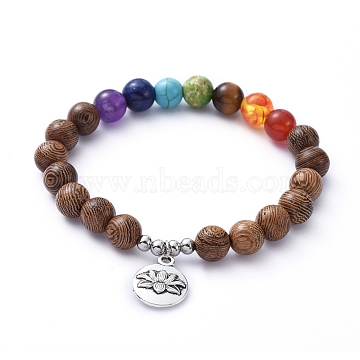 Chakra Jewelry, Stretch Charm Bracelets, with Natural Gemstone Beads, Wood Beads, Alloy Pendants and 304 Stainless Steel Beads, Flat Round with Lotus, Antique Silver, Inner Diameter: 2 inches(5cm)(X-BJEW-JB05232-05)