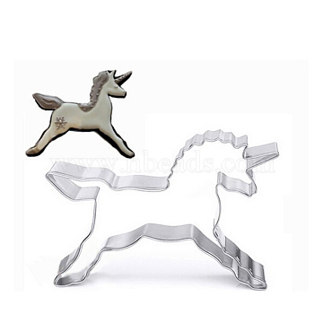 304 Stainless Steel Cookie Cutters, Cookies Moulds, DIY Biscuit Baking Tool, Unicorn, Stainless Steel Color, 83x55x17.5mm(DIY-E012-34)