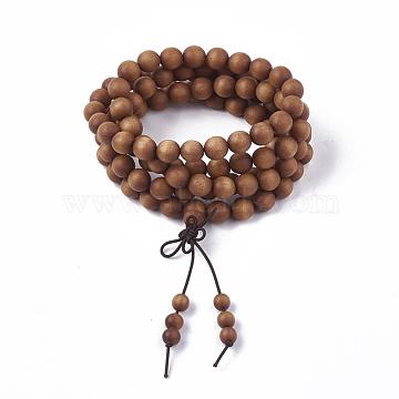 4-Loop Wrap Style Buddhist Jewelry, Sandalwood Mala Bead Bracelets, Stretch Bracelets, Round, SandyBrown, 3-1/2inches(9cm)(BJEW-S140-13B)