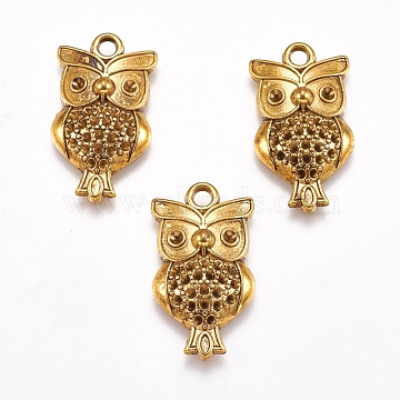 Tibetan Style Halloween Owl Pendant Rhinestone Settings, Lead Free & Cadmium Free, Antique Golden, 26x15x4mm, Hole: 2mm(X-TIBEP-20293-AG-LF)