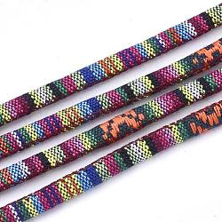 Cordes en tissu de style ethnique, avec cordon en coton à l'intérieur, colorées, 6.5~7x5 mm; environ 100 m / bundle(OCOR-S034-30)