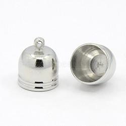 Embouts de cordon en laiton  , platine, 14x12mm, Trou: 1mm(X-KK-D217-14x12-P)