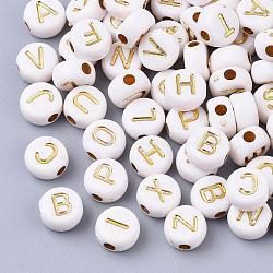 plaquer les perles acryliques, pour la fabrication de bracelets et de bijoux, métal enlacée, style alphabet, plat rond, plaqué or, 7x4 mm, trou: 1.8 mm; environ 3650 pcs / 500 g(PACR-Q112-07)