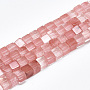 Cherry Quartz Glass Beads Strands, Cube, 6~6.5x6~6.5x6~6.5mm, Hole: 1mm; about 65pcs/strand, 16.1''