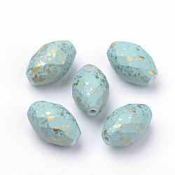 Perles acryliques laquées, facette, ovale, Bleu ciel, 17x11mm, Trou: 1.5mm(X-ACRP-Q023-01)