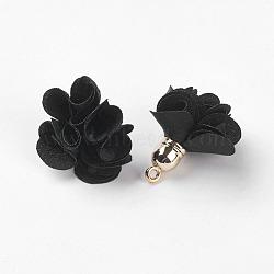 Décorations de pendentif en tissu, avec les accessoires acryliques, fleur, noir, 25~30x28~35mm, Trou: 2mm(X-FIND-P026-D08)