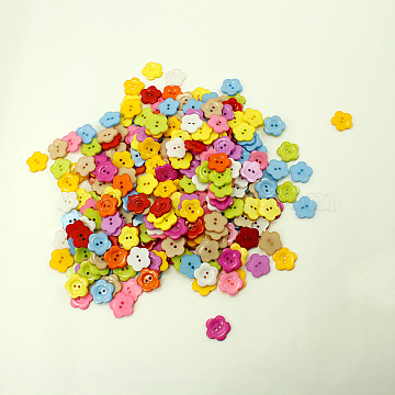 Plum Blossom Shape Buttons, ABS Plastic Sewing Button, Mixed Color, about 22mm in diameter, hole: 2mm(X-NNA0VCX)