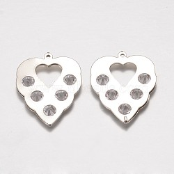Iron Rhinestone Pendants, Hollow Leaf, Platinum, 37x28.5x5mm, Hole: 1mm(IFIN-K025-01P)